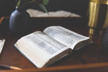 open Bible on a desk