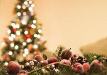 lights on a Christmas tree and garland