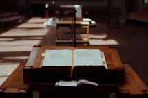 open Bible at an altar
