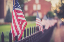 American flags along a fence