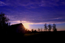 silhouette of a church