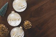 peace, joy, noel Christmas ornaments