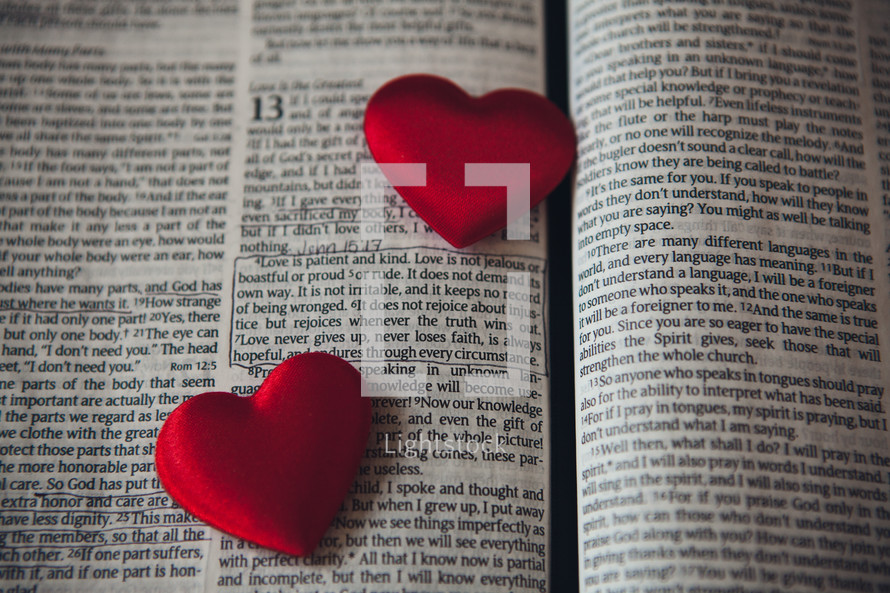 Bible Verse about Love and red candy hearts
