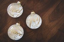 noel, peace, joy Christmas ornaments