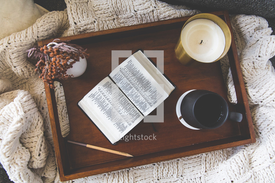 A Bible in a tray