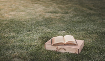 open Bible and wood box in grass