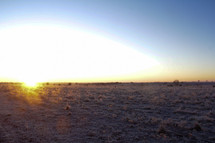 sunset and a snow covered field