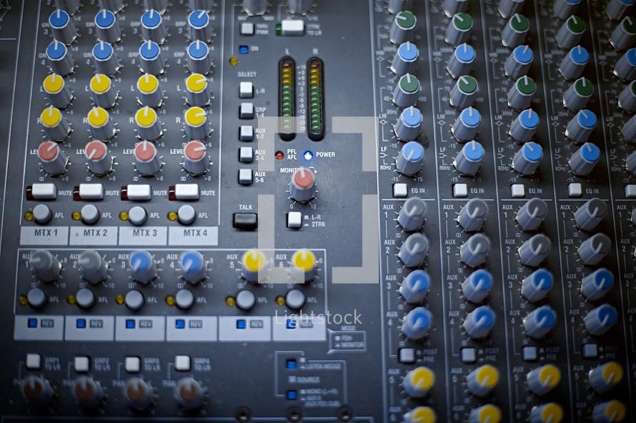 controls on a soundboard