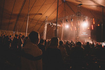worship music during a worship service in a tent