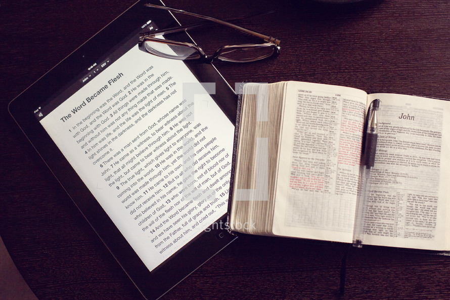 Coffee cup, iPad, Bible, reading glasses