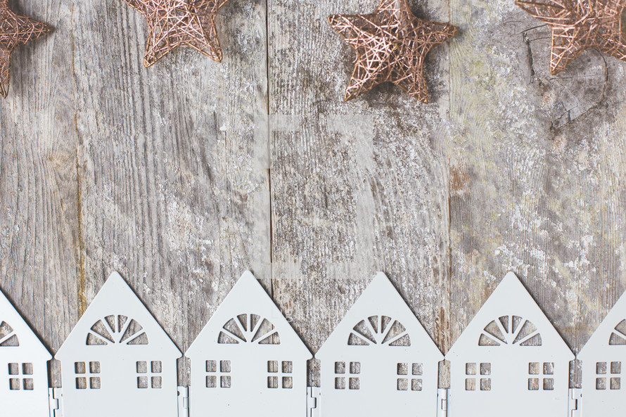 white houses on a wood background