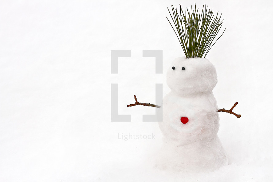snowman with a heart button