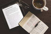 Coffee cup, iPad, Bible, reading glasses