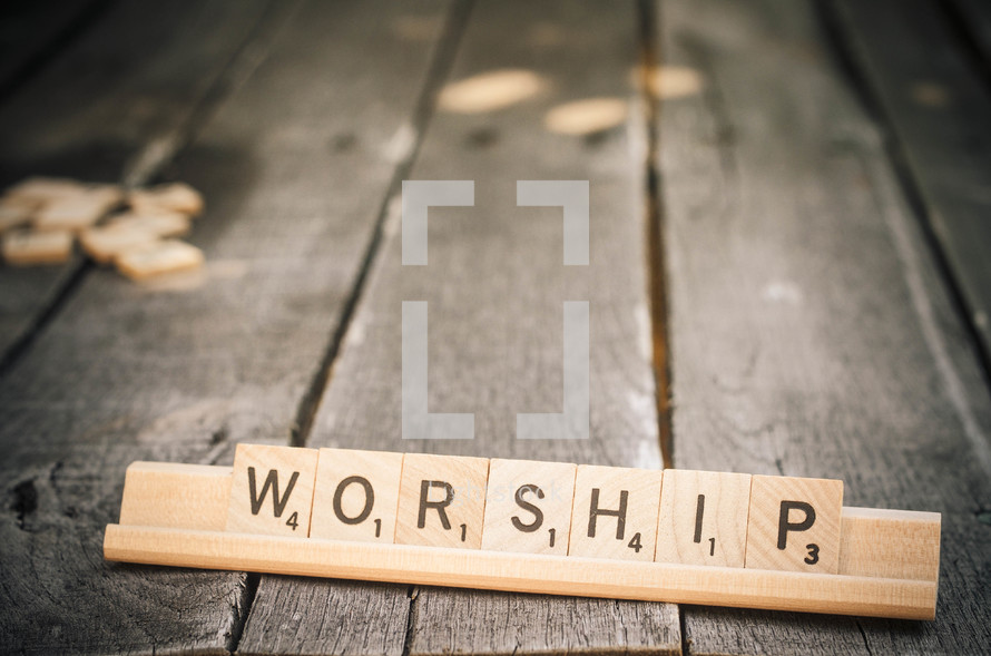 worship in scrabble pieces