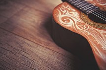 engraved detail on a guitar