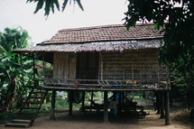 a cabin on stilts in the jungle