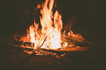 Fire burning in a fire pit.