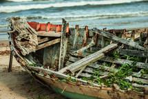 old boat falling apart