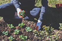A woman planting a garden.
