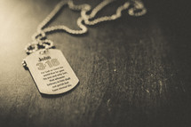 A dog tag with John 3:16