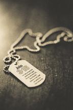 John 3:16 on dog tag necklace