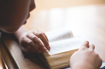 boy child reading a pocket Bible