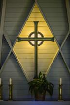A cross on an altar