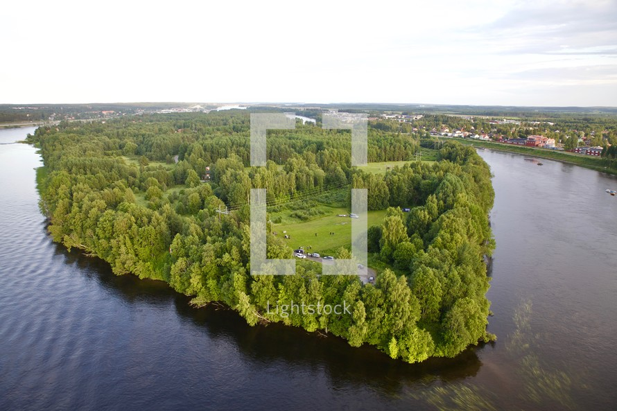 aerial view over a lake island
