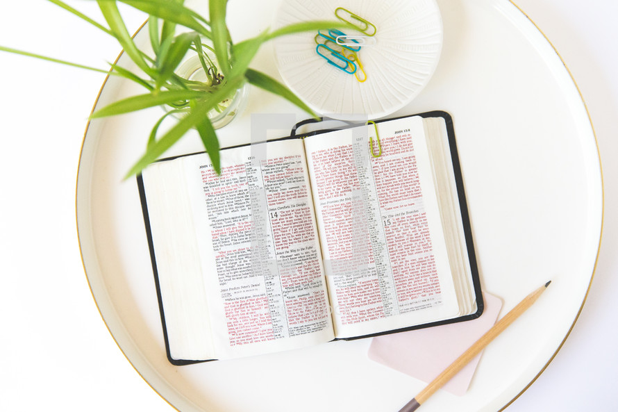 open Bible on a tray
