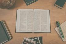 an open Bibel on a desk