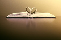 pages of a Bible folded to the shape of a heart
