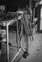 metal workers tools in a workshop