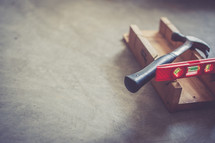 tools, hammer, wood, level