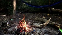 flames in a campfire near a hammock