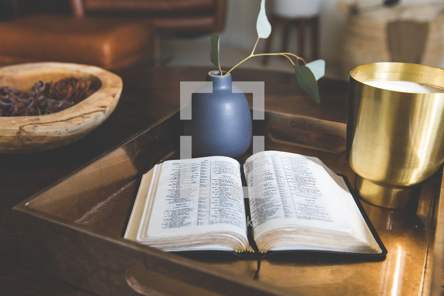 Bible in a tray on a table