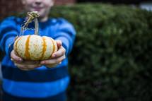 a boy child holding a pumpkin