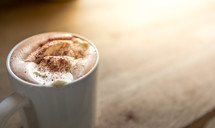 froth in a mug in a latte