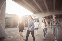 youth walking in a group