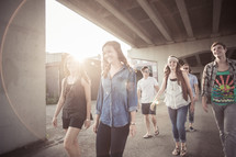 youth walking outdoors in a group