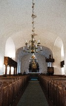 chandeliers in an empty church