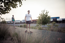skateboarding on a path