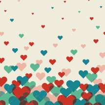 red, blue, pink, green, hearts, pattern, background