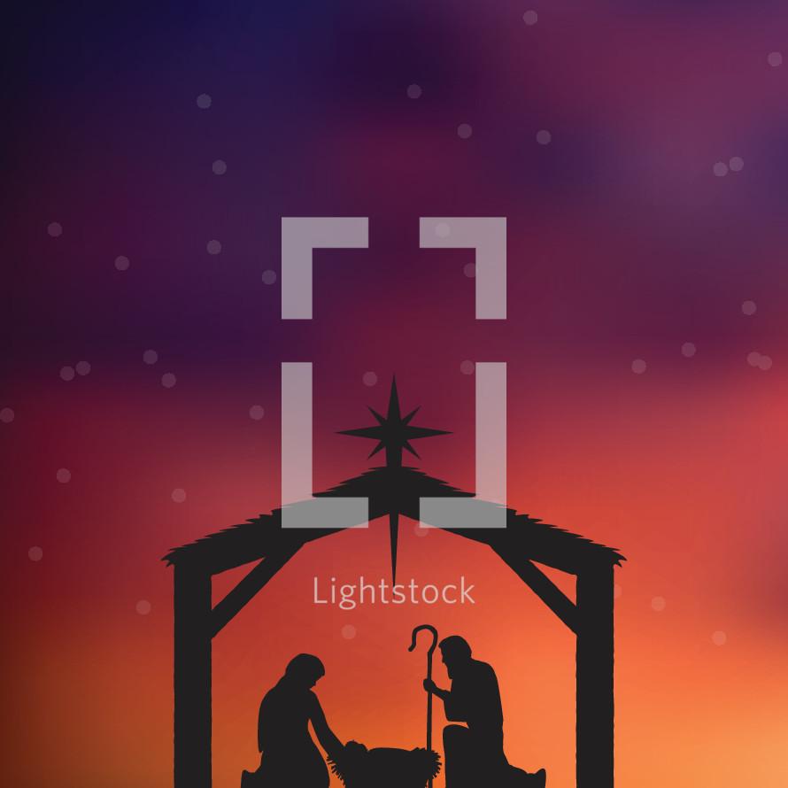 Christmas vector illustration of the nativity.