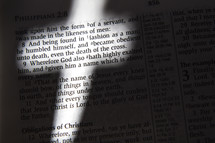 Cross-shaped light on Bible text, Philippians 2:8
