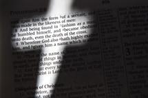 Cross-shaped light on Bible text, Philippians 2:8