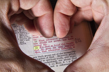 "Heart hands surrounding underlined Bible text, John 3:16, ""for God soloved the world."""