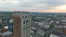 aerial view over downtown Birmingham