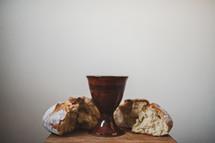 communion wine chalice and bread