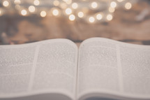 open pages of a Bible and bokeh lights