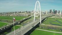 Margaret Hunt Hill Bridge, Bridge, Dallas, over, aerial view, over, traffic